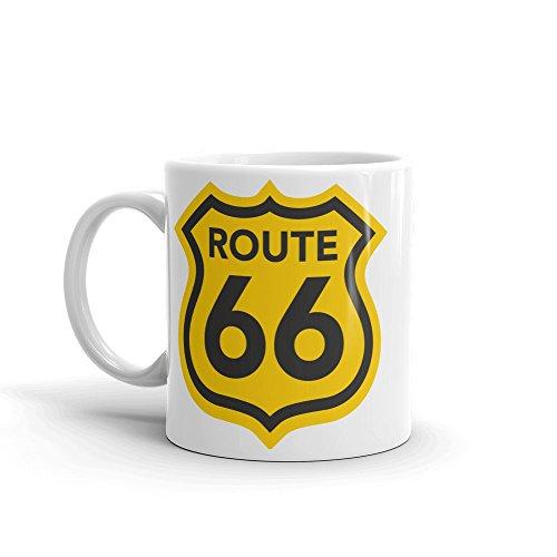DV Mugs Ltd Impresionante Taza Ruta 66 – Insignia con el Logotipo de los Estados Unidos de América en el Camino, Regalo de Viaje #4291