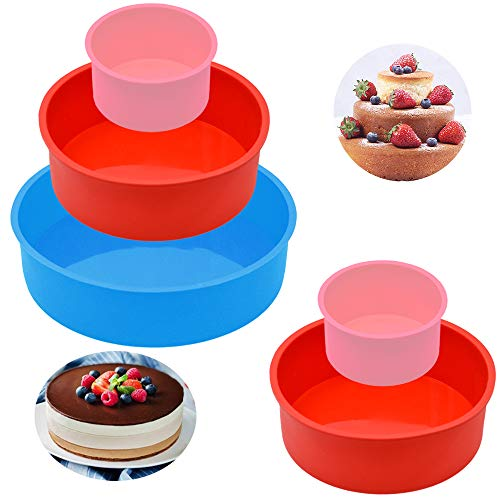 5Pcs Silicone Cake Pans, FULANDL 4' 6' 8' Round Silicone Cake Baking Molds Pan Pastry Baking Mold, for Birthday Party Wedding Anniversary