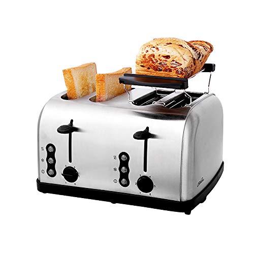 WDDMFR Toaster Four Slice , Home Breakfast-Maschine aus gebürstetem poliertem Edelstahl , 6 Toast Shade-Einstellungen, Funktionen zum Auftauen, Aufwärmen und Abbrechen, automatische Abschaltung