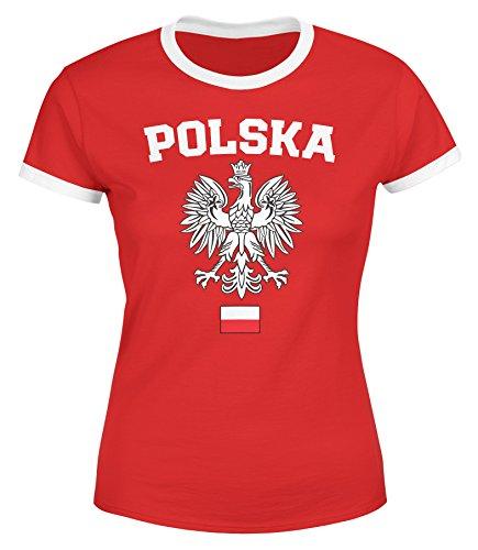 MoonWorks Damen WM-Shirt WM Polska Polen Poland Flagge World Cup Weißer Adler WM 2018 rot-weiß-schwarz M