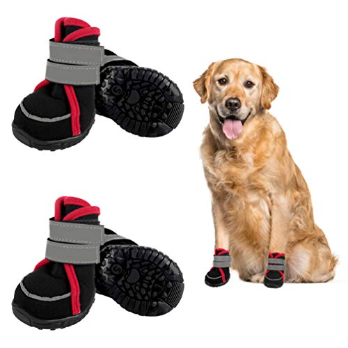 Etdane Non-Slip Dog Boots Waterproof Pet Shoes for Small to Large Dog Puppy Runing Hiking Paw Protectors Reflective Strip for Winter Summer Snow Hot Pavement Hardwood Floor