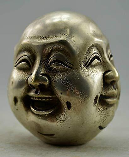 LIUCH Estatua Decorada a Mano Tíbet Plata Tallada 4 Estado de ánimo Buda Estatua de decoración de jardín 100% latón Plateado Tibetano Real, 12 cm