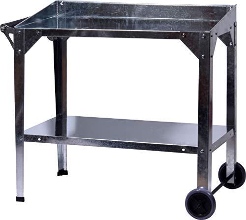 Metall-Pflanztisch Wagon mit Rädern, robuste Garten-Werkbank mit Ablagefläche, 95 x 55 x 80 cm, silber