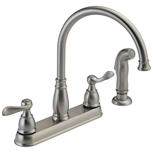Delta Faucet Windemere 2-Handle Kitchen Sink Faucet with Side Sprayer in Matching Finish, Stainless 21996LF-SS New Hampshire