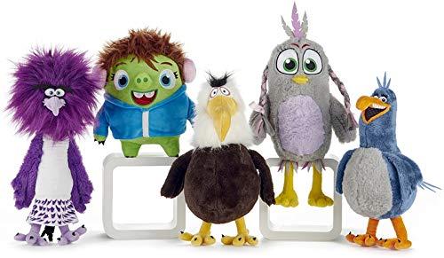 WHITEHOUSE LEISURE - Juego Completo 5 Plush Angry Birds Película 2 con El Villano Zeta Original ROVIO - Multicolor - 20/40cm