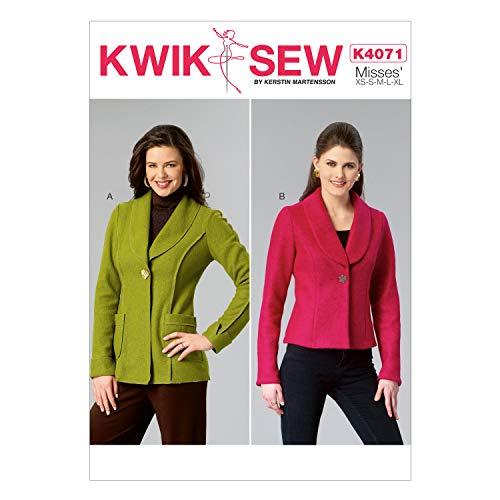 Kwik Sew Mustern k4071OS Größen XS–klein–mittel–groß–Extra Groß Schnittmuster Jacken
