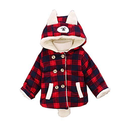 LSHEL - Abrigo de Invierno para niños con Capucha (Acolchado) Rojo Rosso 80 cm (6-18 Meses) (Altura 69/84 cm)