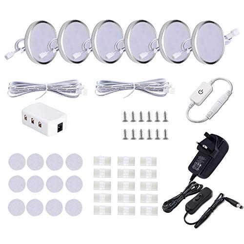 LED Under Cabinet Lighting Fixture,6 Pack Wired Linkable Puck Lights with Touch Dimmer,Plug in Under Counter Lights for Curio Bar, Kitchen, Cupboard,Bookcase,Closet Furniture (6000K Daywhite)