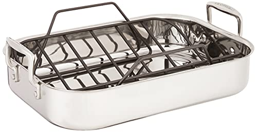 Le Creuset Stainless Steel Roasting Pan with Nonstick Rack, 14' x 10'