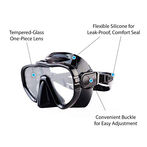 Kraken Aquatics Snorkel Dive Mask with Silicone Skirt and Strap for Scuba Diving, Snorkeling and Freediving   Black