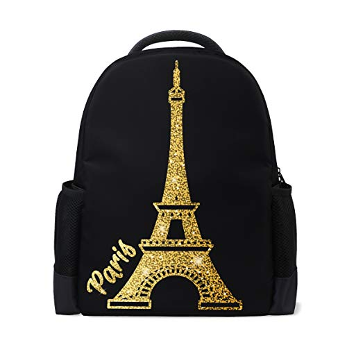 ALAZA Shining Paris Eiffel Tower Large Backpack School Book Bag Travel Daypack for Kids Boy Girls