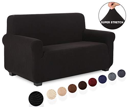 TIANSHU Sofabezug 2 sitzer, Stretch Spandex Couchbezug Sesselbezug Elastischer Antirutsch Stretchhusse Weich Stoff,Jacquard-Stretch-Sofabezug, Schonbezug für Sofa-Sofahalter(2 Sitzer,Schwarz)