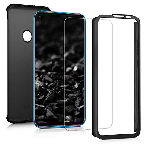 Preisvergleich Produktbild kwmobile Hülle kompatibel mit Huawei P20 Lite (2019) - komplette Abdeckung - inkl. Displayschutz - Case Metallic Schwarz