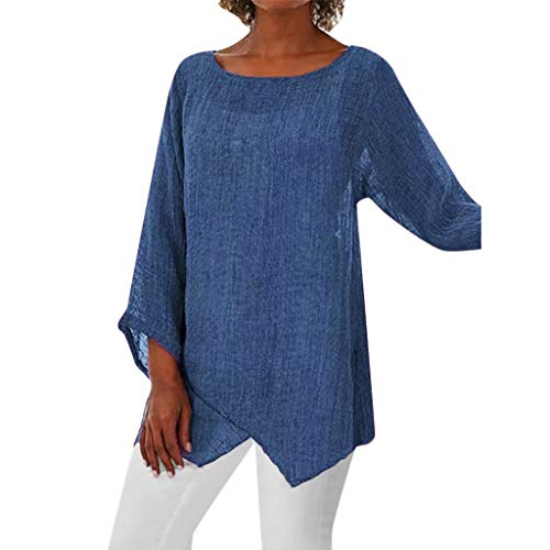 MNLOS Top de Color Liso para Mujer Blusa de Color Sólido Mujer Arriba Mangas Cortas Chaleco Mujer Largo…