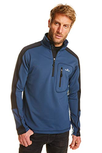 Jeff Green Pull Softshell Hommes Gent - Pull Technique Outdoor avec Fonction Thermique, Taille - Hommes:XXL, Couleur:Jeans