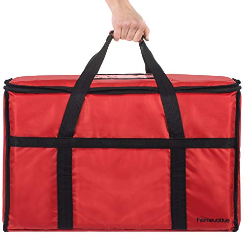 "Homevative XL Nylon Thermal Insulated Food Delivery and Reusable Grocery Bag - For Catering, Restaurants, Delivery Drivers, Uber Eats, Grubhub, Postmates, Shipt, Instacart, and more, 22"" x 14"" x 13"""