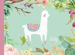 Baby Shower: Guest book,Flowers,Cactus,Llama,With gift log,Tracker,Record, Keepsake,Memory,Write Predictions & Advise, Space for picture