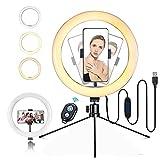 Anillo Luz de Selfie 10.2' con Trípode Soporte para Teléfono y Control Remoto, 3 Colores 10 Niveles de Brillo, Luz LED de Selfie de Teléfono para Selfie, Maquillaje, Youtube