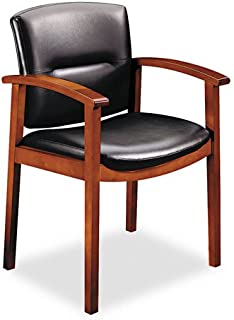 HON 5000 Series Park Avenue Guest Chair, Black Vinyl/Henna Cherry Finish