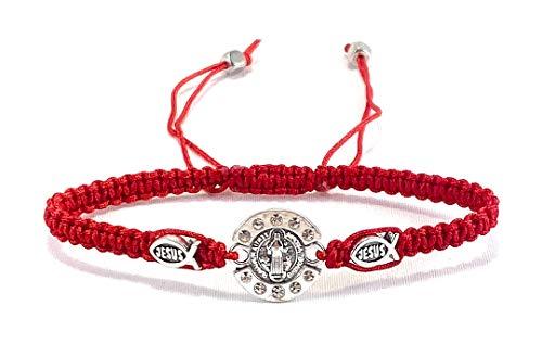 Saint Benedict Red Bracelet with Silver Tone Medal Jesus Christian Fish Symbol Pulsera Roja De San Benito Jesus Grabado En Simbolo De Pescado