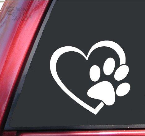 ShadowMajik Heart and Paw Print Vinyl Decal Sticker (4' X 3.7', White)