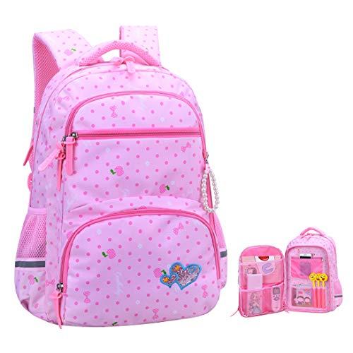 Girls Backpacks for Elementary, Polk Dots School Bag for Kids Primary...