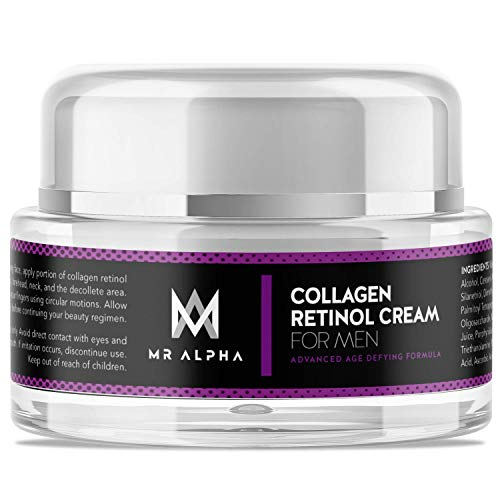 Face Cream With Collagen Retinol for Men, 30 mL - Anti-Aging Skin Care Day and Night Cream for Firming, Toning, and Tightening Skin, Diminishes Fine Lines, Wrinkles - Made In USA by MR ALPHA
