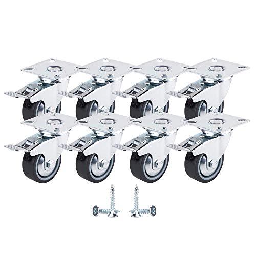 Juego de 8 ruedas giratorias de goma de movimiento suave de 50 mm con placas de metal, ruedas de diseño industrial moderno (8 unidades, con frenos)