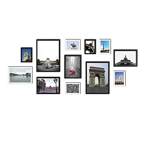 YEJIE Juego de 12 marcos de fotos de madera adecuados para colgar en la pared, con paisaje, marco de madera adecuado para imágenes (color: marco de fotos de madera, tamaño: madera natural).