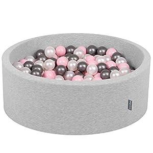 KiddyMoon 90X30cm/200 Bolas ∅ 7Cm Piscina De Bolas para Ninos Hecha En La UE, Gris Clr:Perla,Rosa Clr,Plata