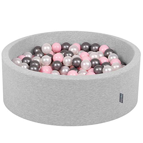 KiddyMoon Bällebad 90X30cm/200 Bälle ∅ 7Cm Bällepool Mit Bunten Bällen Für Babys Kinder Rund, Hellgrau:Perle-Rosa-Silbern