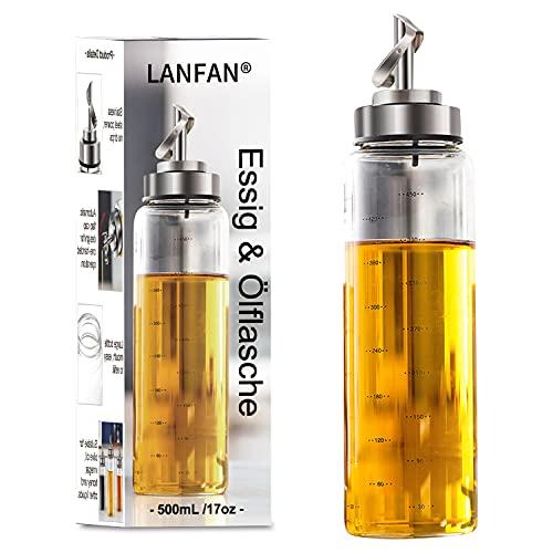 LANFAN Olio Acetiera Oliera Vetro, Dosatore Olio e Aceto, Bottiglia di Olio d'oliva, Olio e Aceto Dispenser, 500mL