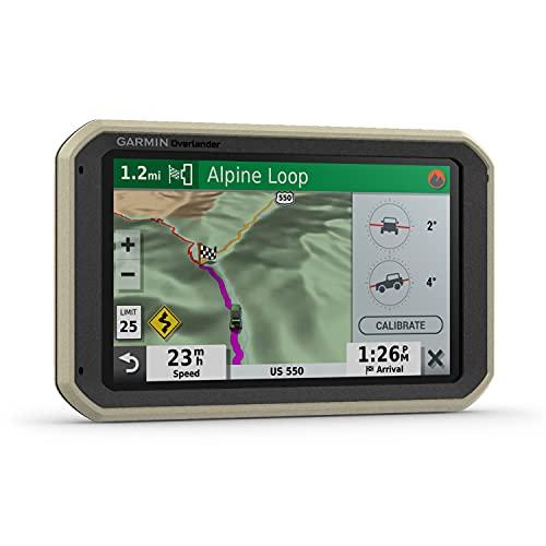 Garmin Overlander - robustes All-Terrain-Navi inkl. OpenStreetMap-Karten mit topografischen Daten im Gelände, 3D-Straßenkarten u.a. für Europa, fahrzeugspezifisches Routing, POIs, GPS/GLONASS/GALILEO