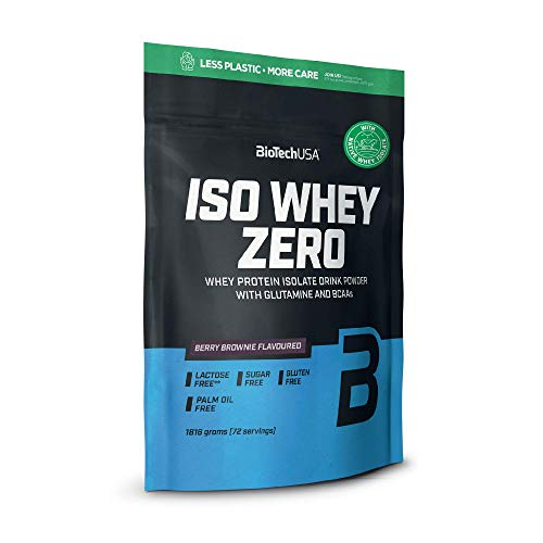 BioTechUSA Iso Whey Zero Premium Whey Protein Isolate with Native Whey Isolate, Added BCAA and glutamine, 1.816 kg, Berry Brownie