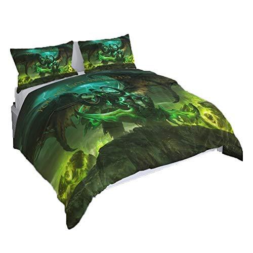 UNILIFE 3-teiliges Bettwäsche World of Warcraft Bettbezug mit Kissenbezug 3D-Druck-Bettbezug Set mit Reißverschluss