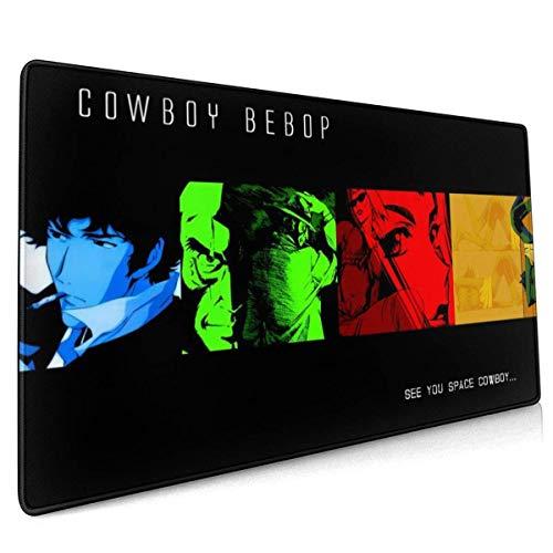Cowboy Bebop - Alfombrilla de escritorio para oficina, estudio, compras, juegos, bordes cosidos, goma antideslizante de gran tamaño, alfombrilla para ratón de carreras de juegos extendida (15.8 x 35.5 pulgadas)