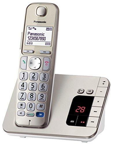 Panasonic KX-TGE220GN Großtastentelefon, hörgerätekompatibel, praktisches Seniorentelefon, schnurlos, champagner