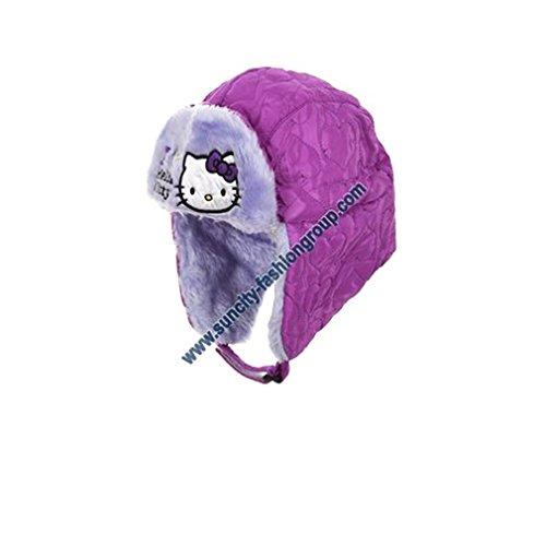 Bonnet Chapka enfant fille Hello kitty Rose et Violet de 3 à 9ans (54(6-9 ans), Violet)