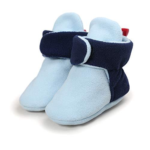 Morbuy Baby Baumwolle Schuhe 0-18 Monate Babyschuhe Neugeborene Mädchen Kleinkind Weiche Alleinige Anti-Rutsch Krabbelschuhe Wanderer Schuhe (12cm / 6-12 Monate, Blau)