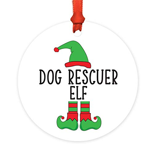 Pealrich Elf Round Christmas Tree Ornament Gift, Dog Rescuer, Dog Lovers, Dog Parent, X-Mas, White Elephant Gift Ideas, Family, Relative, Includes Ribbon And Gift Bag, 3 Inch