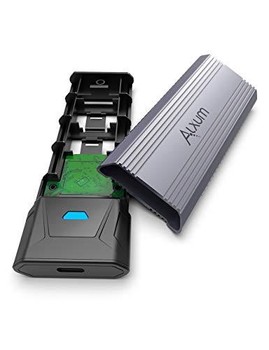 Alxum M.2 NVME SATA SSD Enclosure Adapter fino a 10 Gbps, USB 3.1 Gen 2 a NVME PCIe USB 3.1 Gen2 M-Key M+B-Key 2242/2260/2280 Solid State Drive External Enclosure Supporto UASP & TRIM