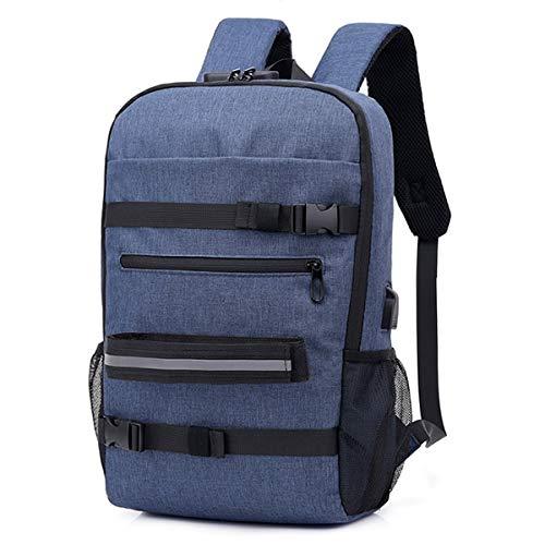 Casual Men Travel Bag Outdoor Student Skateboard Tasche Rucksack Mit USB Lade Passwort Lock Rucksack Grau Blau blau