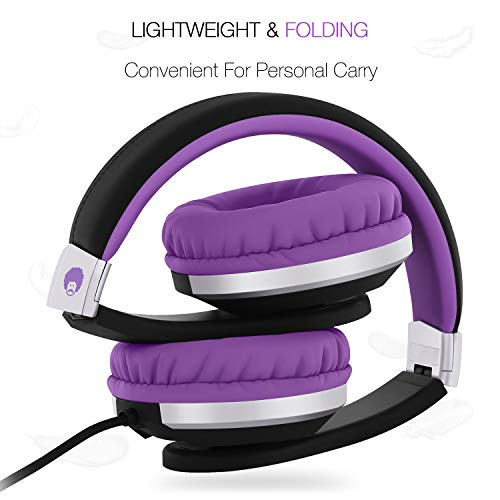 Rockpapa Foldable Adjustable Stereo Portable Wired Headphones with in-Line Microphone, Over Ear Kids Childrens Adults Headsets for CD DVD MP3/4 Player Surface Tablets iPad iPod iPhone (Black/Purple)