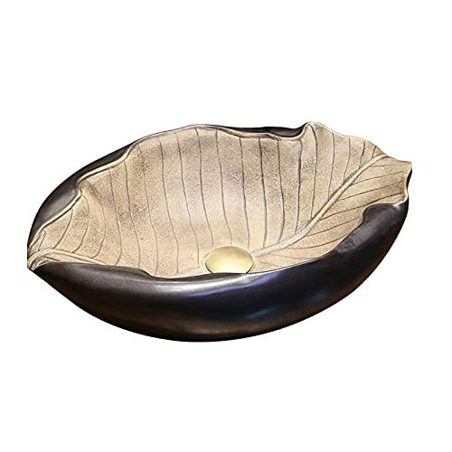 Lavabos sobre encimera Fregadero de lavabo de baño fregadero Fregadero, - forma única de forma de hoja de porcelana de cerámica de lavabo de lavabo de lavabo de lavabo de baño Recipiente de baño de ce