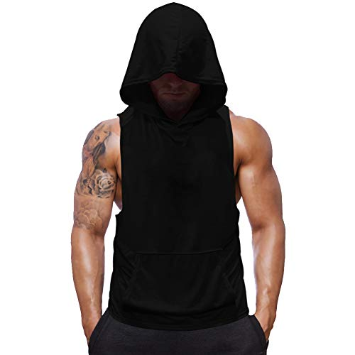 Mens Sleeveless Hoodie Fitness Vest Bodybuilding Stringers Workout Tank Tops (2X-Large, Black(no Skull))