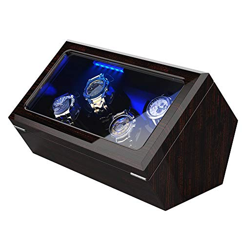 High End Watch Winder for 4 Watches with Soft Flexible Watch Pillows[Updated], Blue Led Light, Open and Shut Down Featured, Pine Bark Pattern,Extra Over Size Watch Pillows Included
