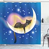 ABAKUHAUS Katze Duschvorhang, Nette Baby-Kind-Katze, aus Stoff inkl.12 Haken Digitaldruck Farbfest Langhaltig Bakterie Resistent, 175 x 200 cm, Blau Gelb