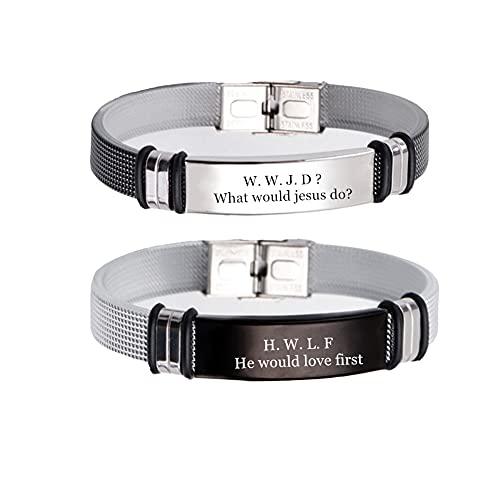 ForeverWill WWJD HWLF - Juego de 2 pulseras para hombre y mujer