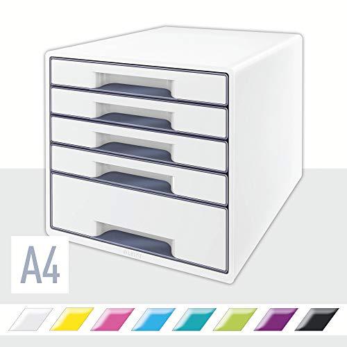 Leitz CUBE Schubladenbox mit 5 Fächern, Perlweiß/Grau, A4, Inkl. transparentem Schubladeneinsatz, WOW, 52142001