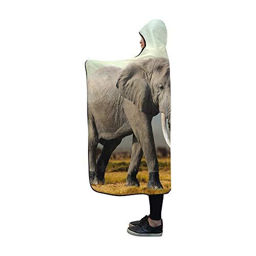 JOCHUAN Mit Kapuze Decke Afrikanischer Elefant Masai Mara Nationalpark Decke 60 x 50 Zoll Comfotable Mit Kapuze werfen Wrap